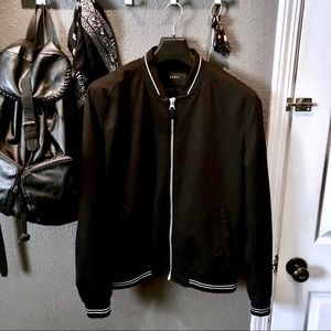 Zara Pique Minimal Stripe Bomber Jacket